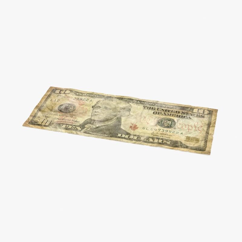 3d 10 dollar bill distressed