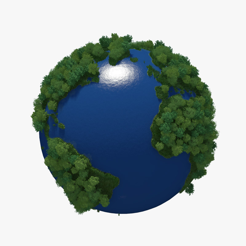 3d model planet earth green