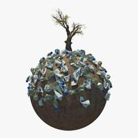 3d planet garbage model