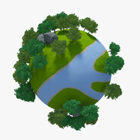 3d model planet river