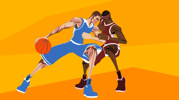 3d stylized basketball player ball model