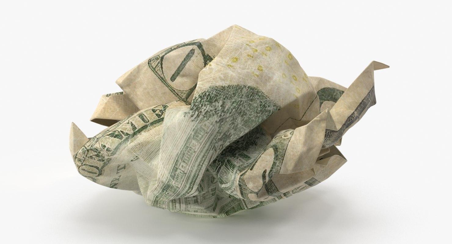 10 dollar bill crumpled 3d model