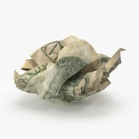 10 dollar bill crumpled 3d model