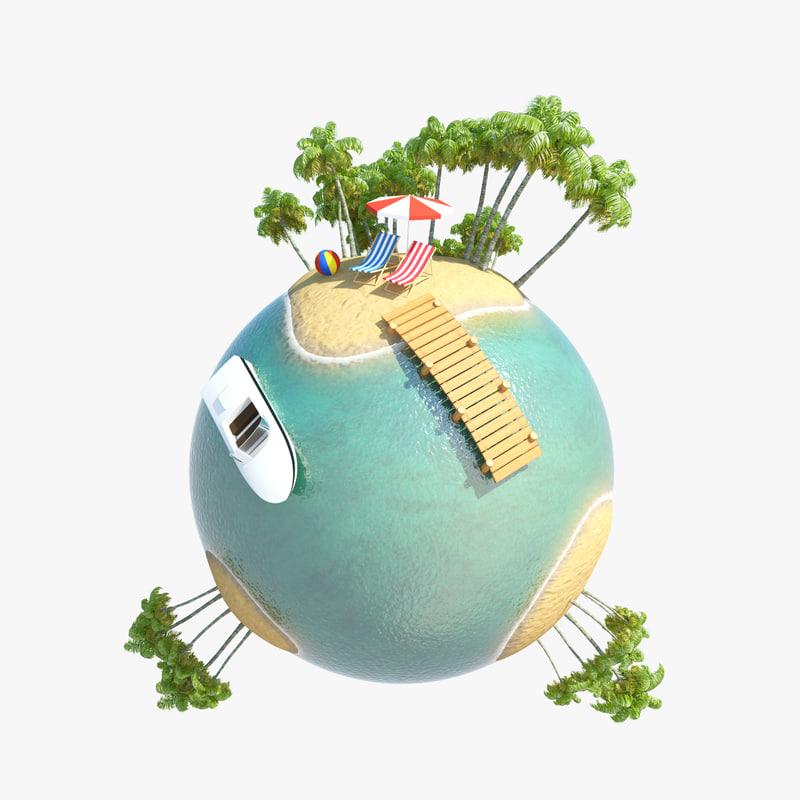 3d model planet tropic