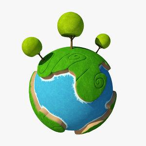 3d model cartoon planet