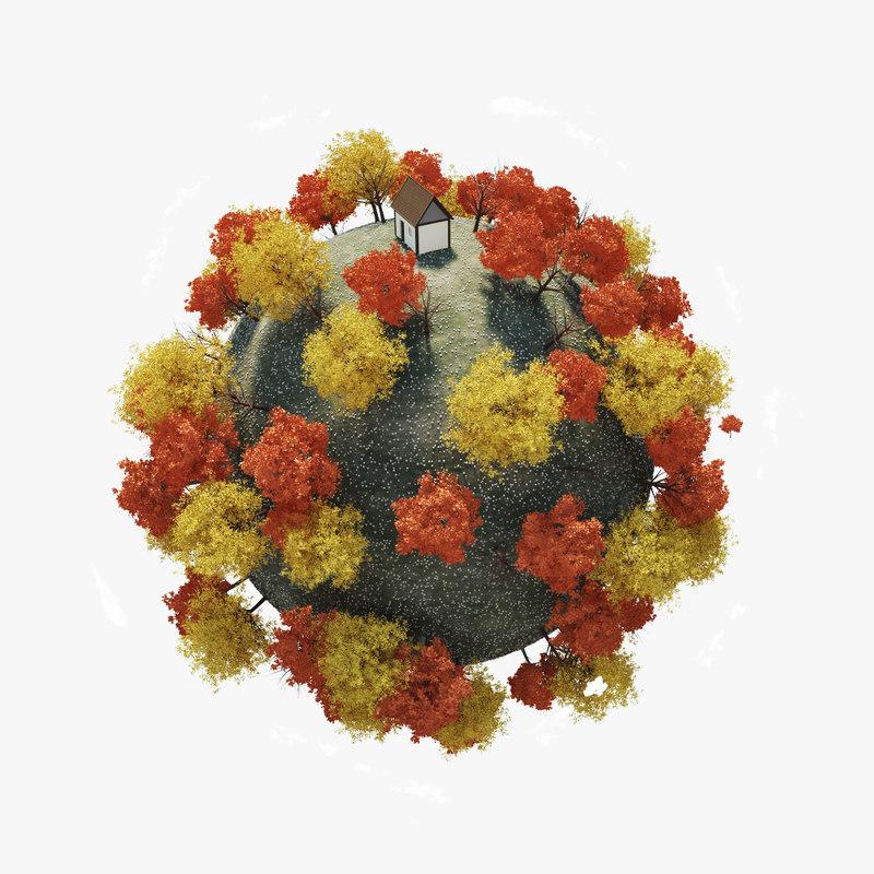 planet autumn season 3d model