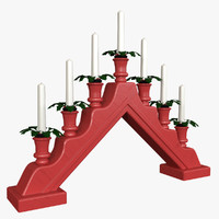 nordic candle holder flames 3d obj