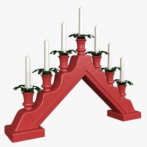 nordic candle holder flames 3d obj