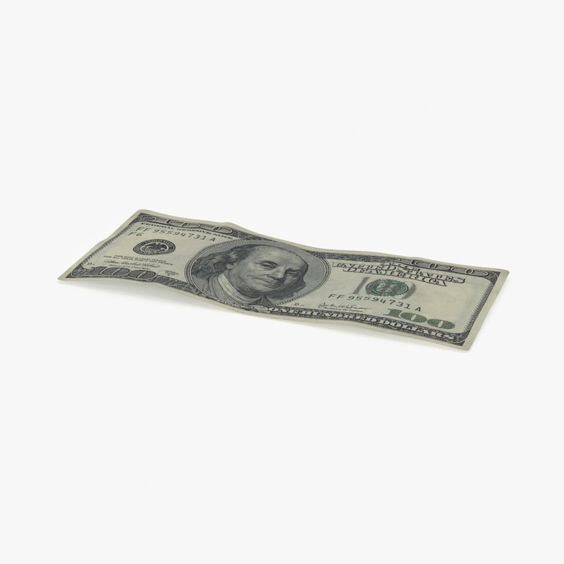 3d model 100 dollar bill single
