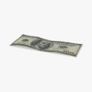 3d model 100 dollar bill single