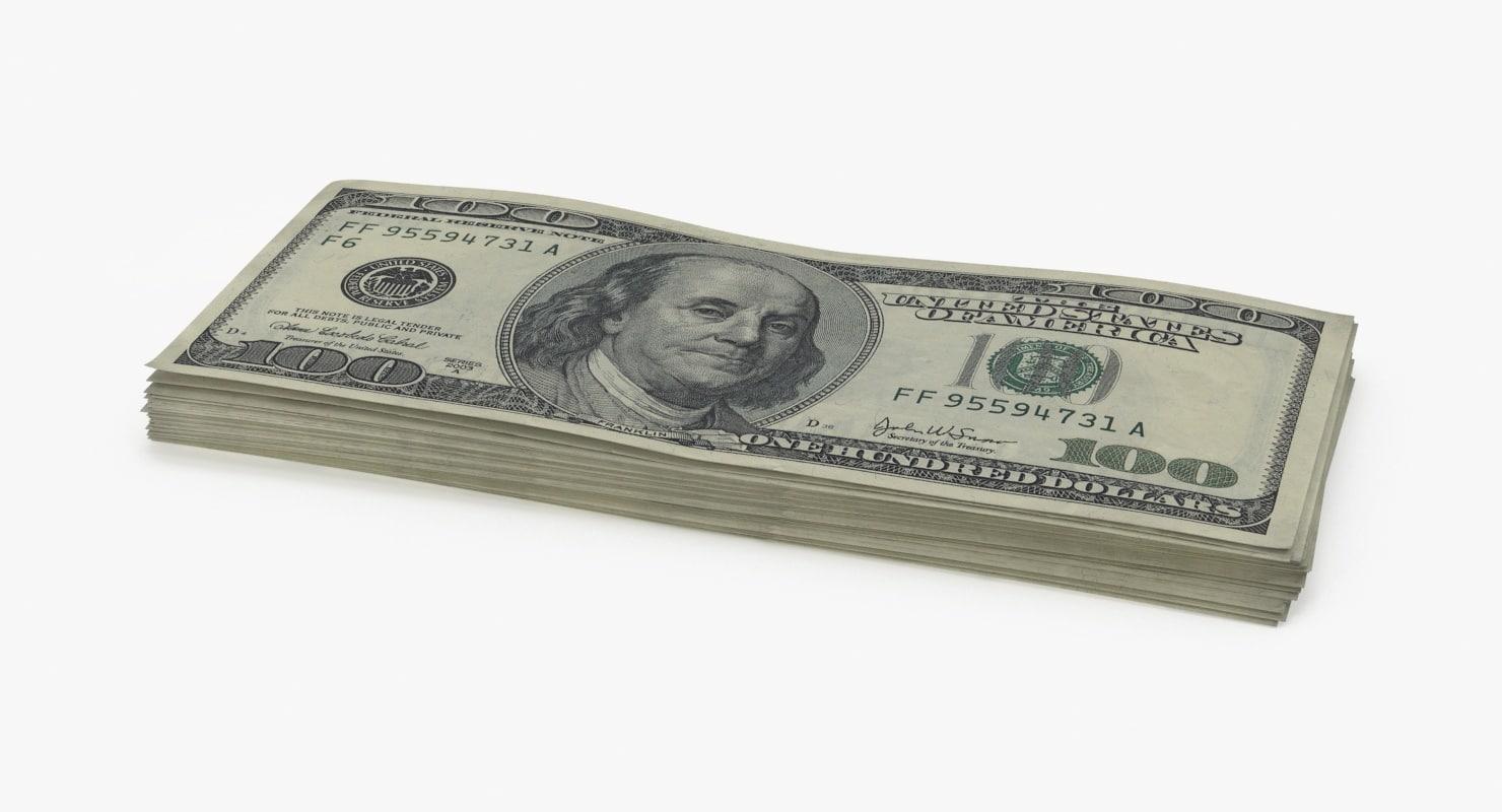100 dollar bill stack 3d max