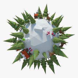 planet winter 3d model