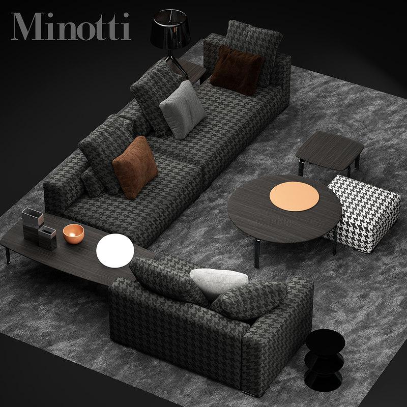 3d model minotti donovan sofa