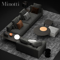 3d model minotti donovan sofa