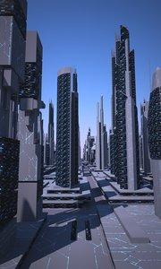 obj futuristic cityscape