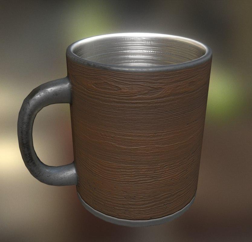 coffee cup wood obj