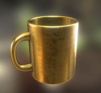 obj coffee cup gold