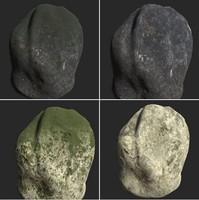rocks cliff moss 3ds