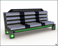 futuristic bench 3d obj