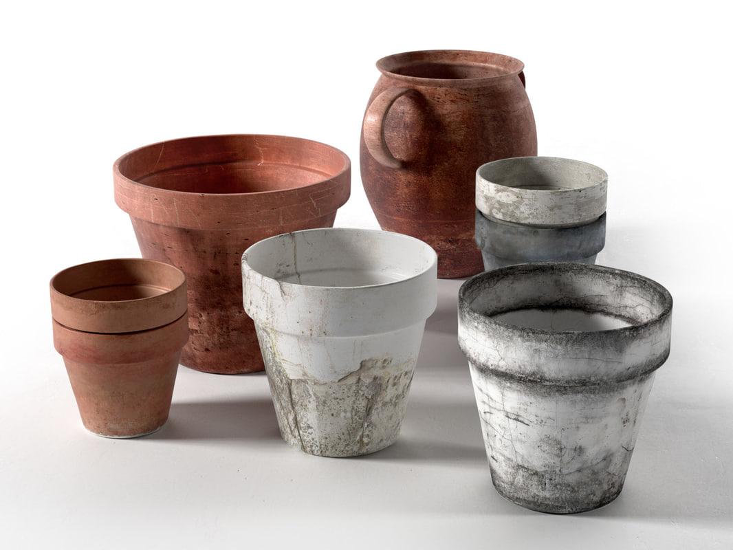 old pots set obj