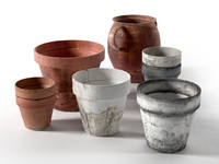 old pots set obj