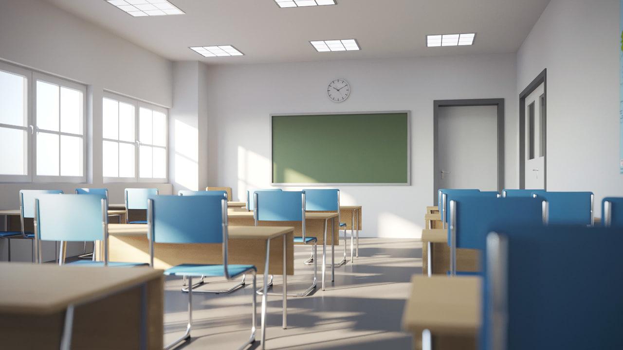 3d realistic classroom model