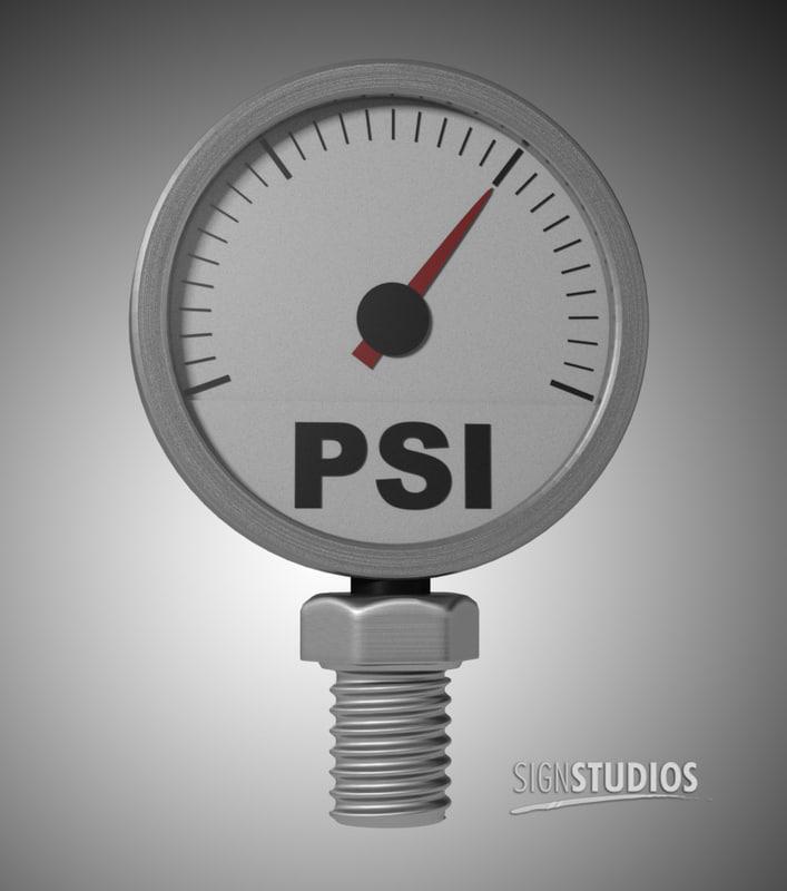 psi pressure gauge needle 3d dxf