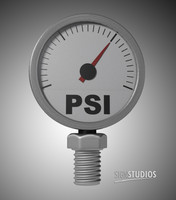 psi pressure gauge needle 3d dxf