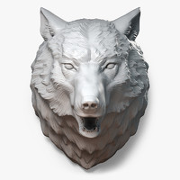 Wolf Head Sculpture Angry
