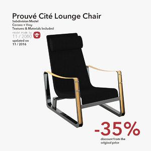 prouve cite lounge chair 3d max