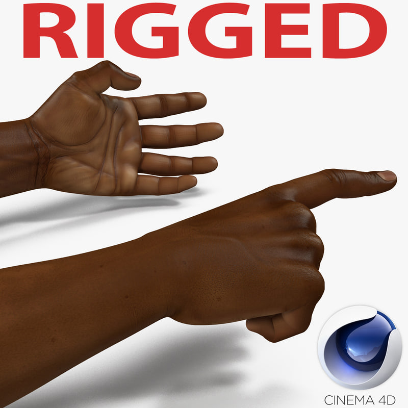 african man hands rigged c4d