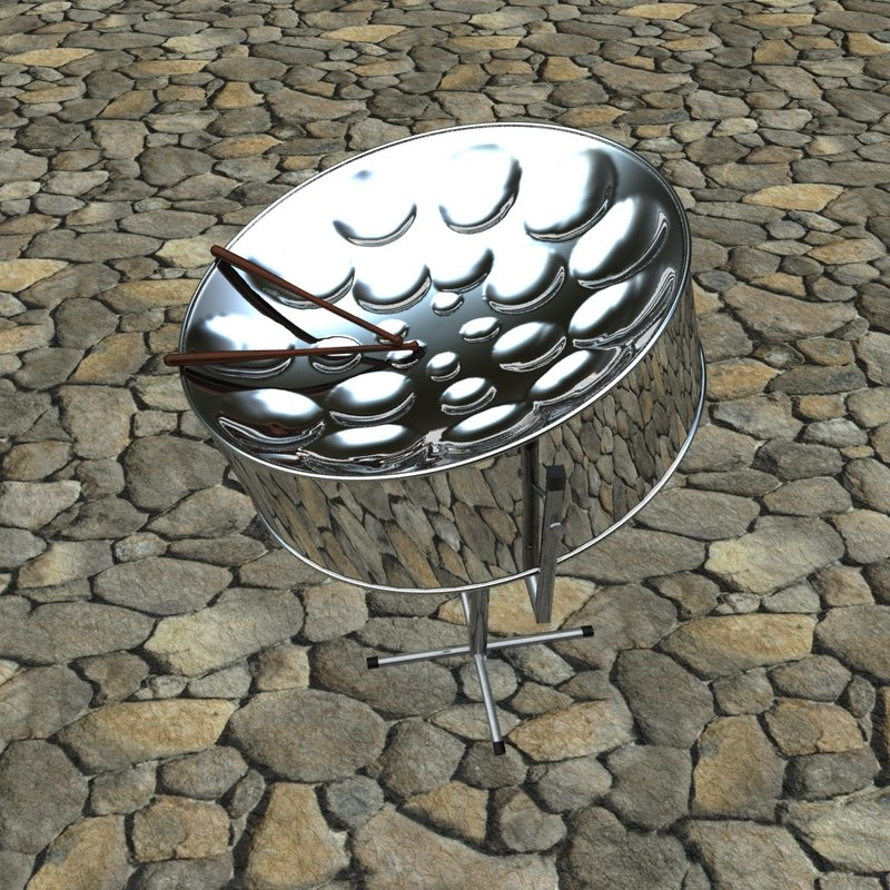 musical steel pan 3d model