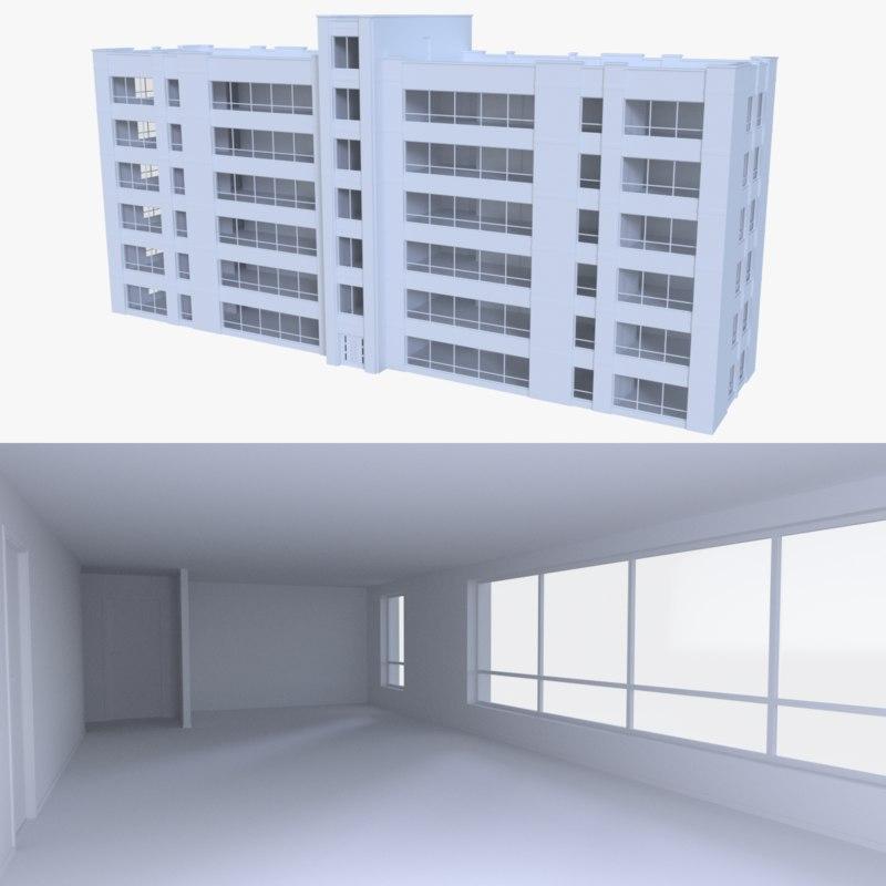 apartment interior buildings 3d model