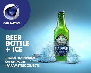 3d c4d beer bottle ice
