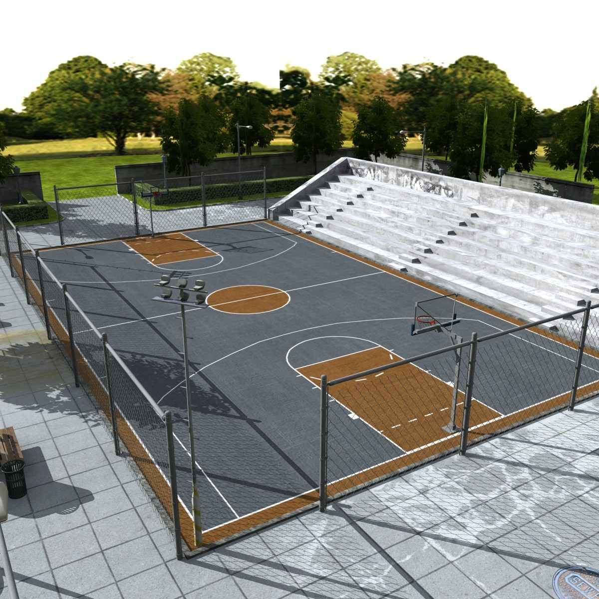 outdoor basketball arena 3d model