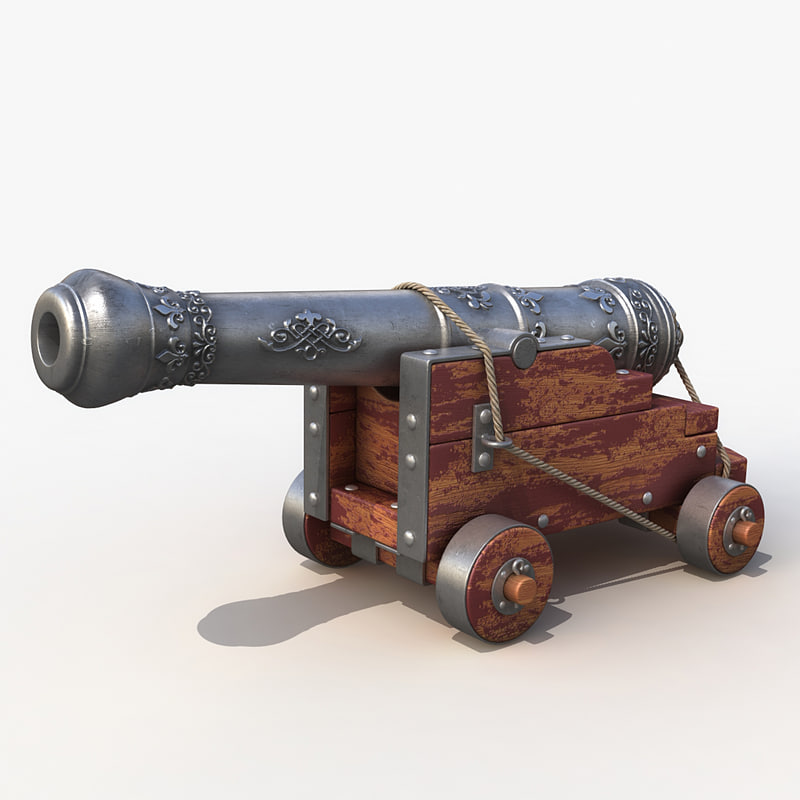 old ship cannon 3d model