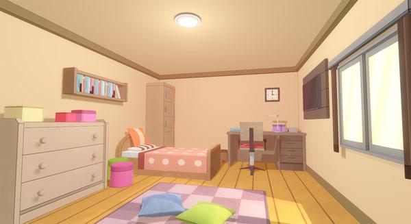 anime room 3d model