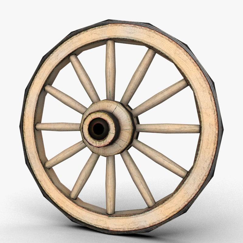 wooden wheel 3d obj