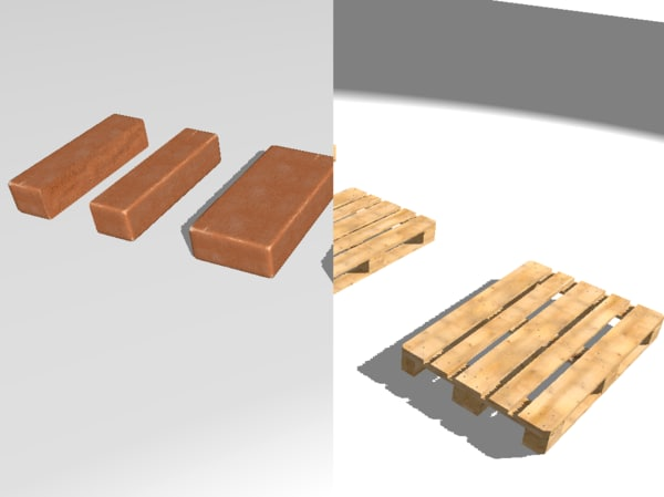 3d set brick europallets