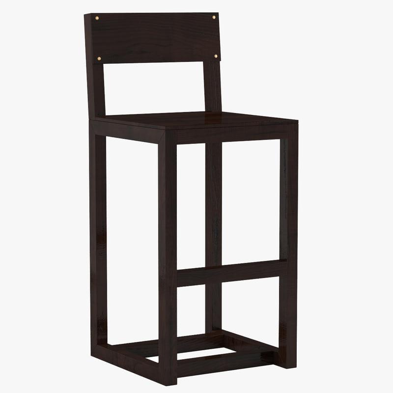 3d model counter stool 01