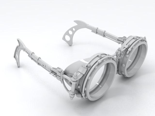 steam punk glasses 3d model