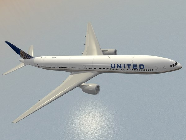 3d boeing 777-300 united airlines