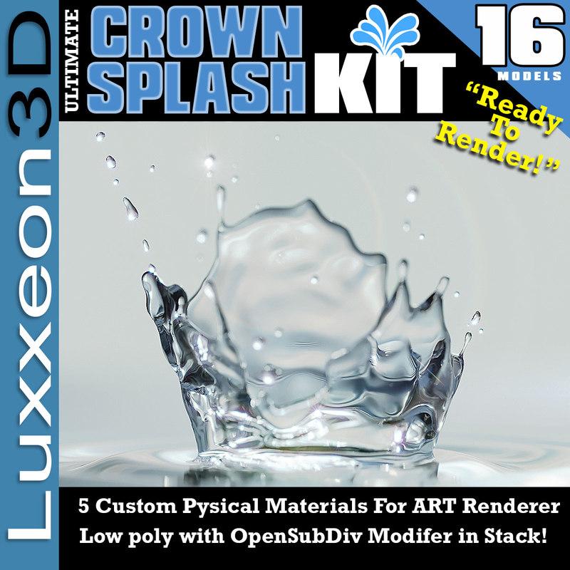 render crown splash 3d model