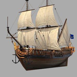 war sailing ship 3d model
