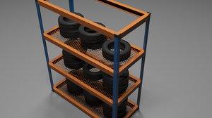 3d model wheels racks