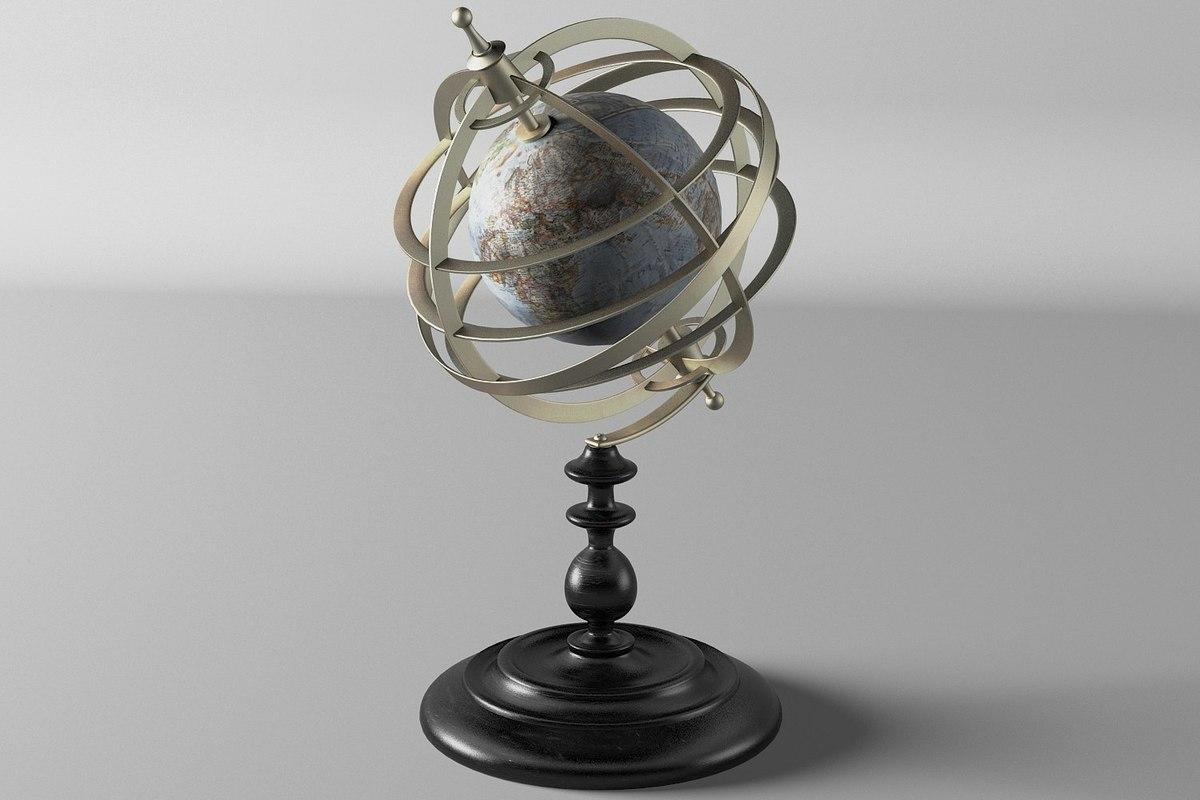 3d globe ancient vintage