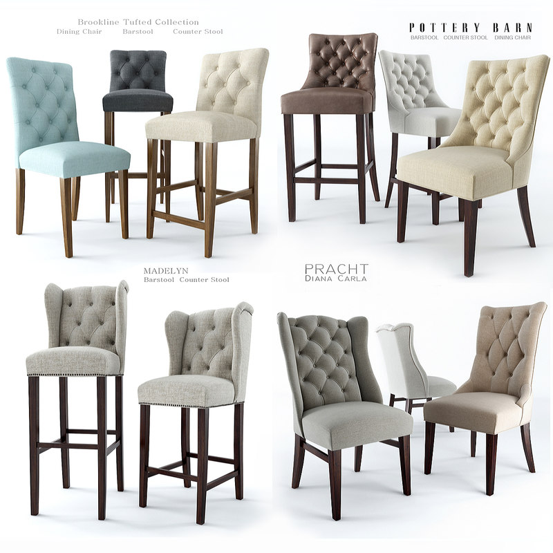 pottery barn dining chair 3d model