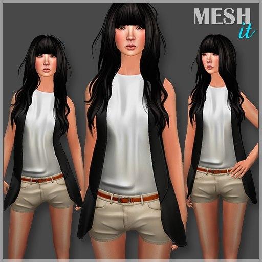 3d blazer shorts set model