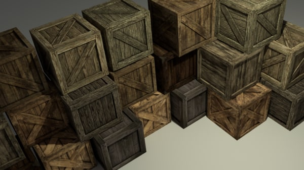 free 3ds model wooden boxes pack