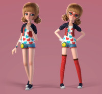 3d cartoon glasses girl rigged